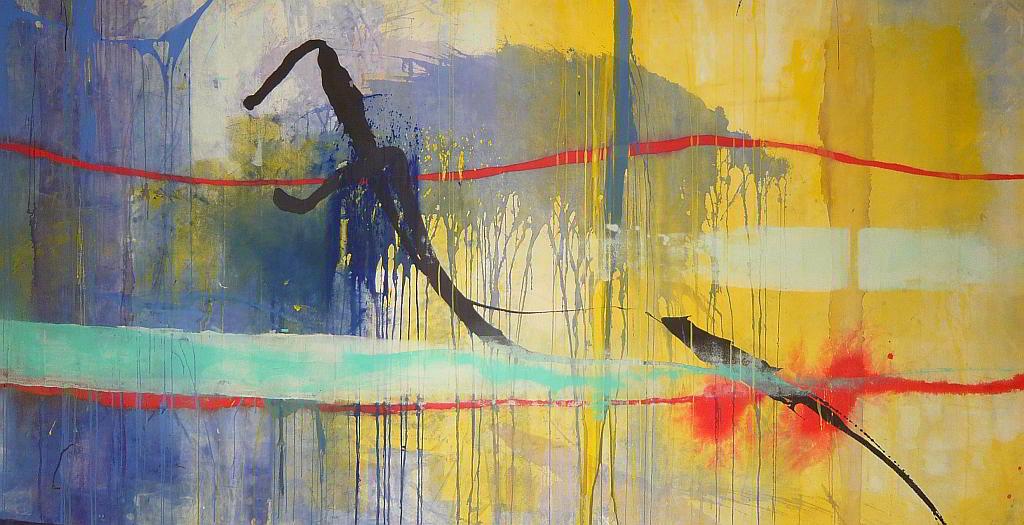 the sea 1998 2.48x1.31  acrylic colours  on canvas